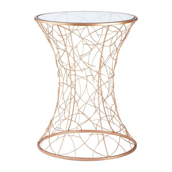 Mattis Concave Side Table In Clear Glass With Rosegold Frame