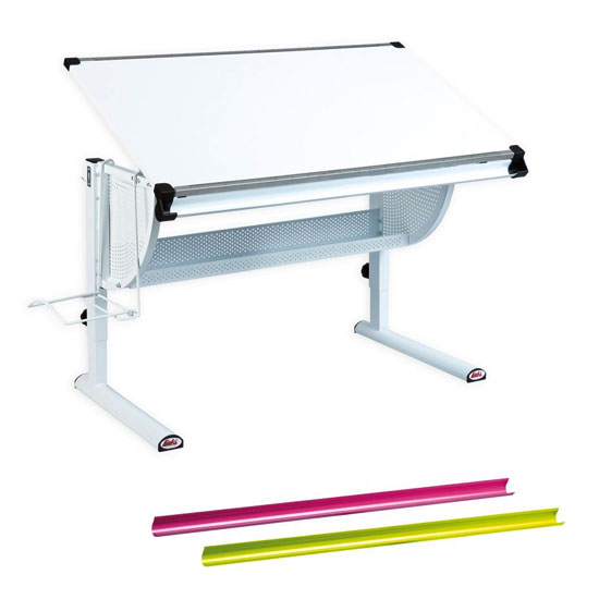 Matts Adjustable 3 In 1 Childrens Writing Desk In White
