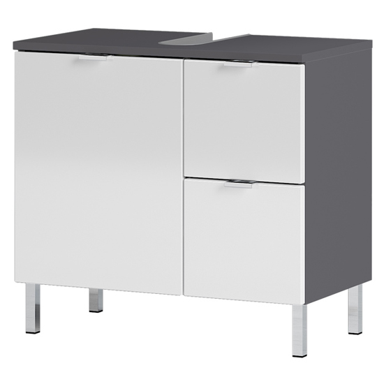 Mauresa Basin Vanity Unit In Graphite And White High Gloss
