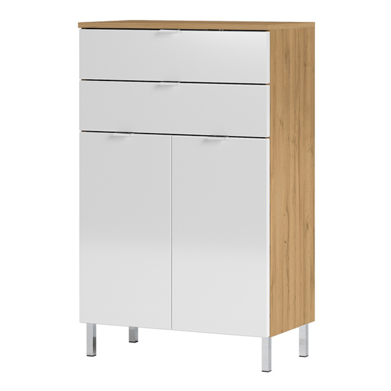 Mauresa Chest Of Drawers In Grandson Oak And White High Gloss