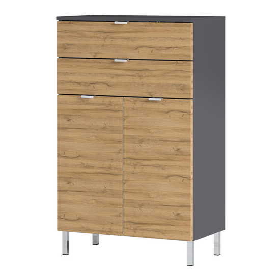 Mauresa Chest Of Drawers In Graphite And Grandson Oak