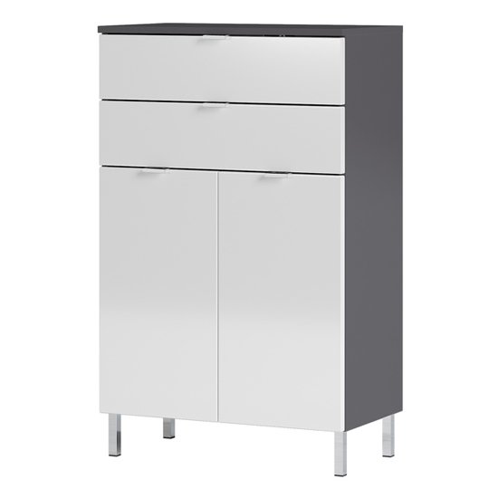 Mauresa Chest Of Drawers In Graphite And White High Gloss