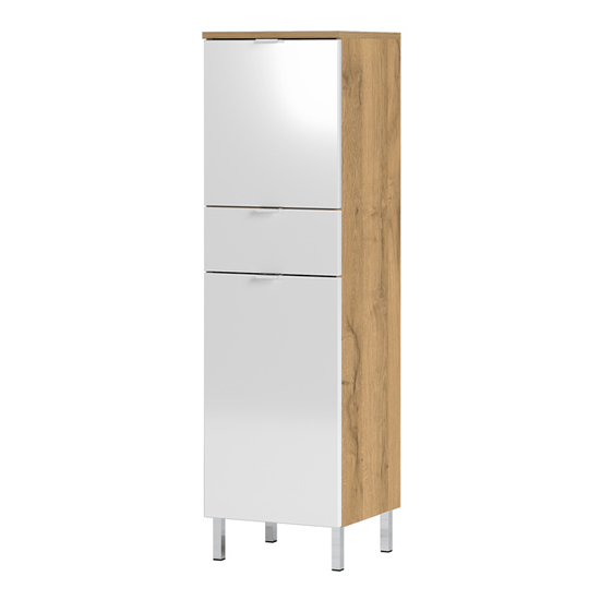 Mauresa Storage Cabinet In Grandson Oak And White High Gloss