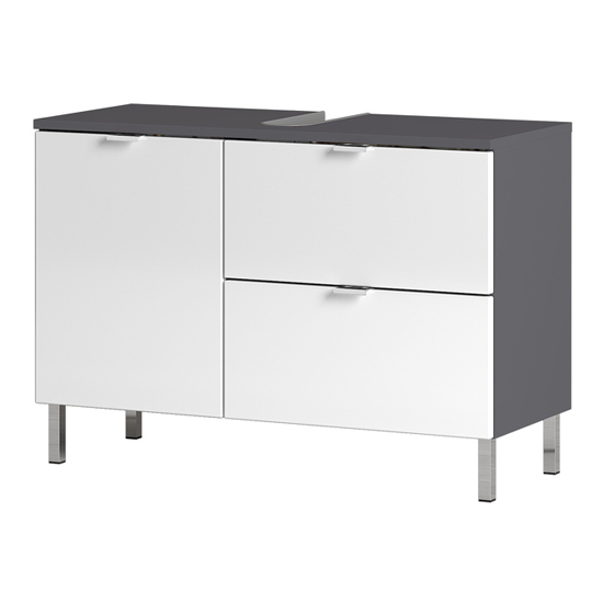 Mauresa Wide Basin Vanity Unit In Graphite And White