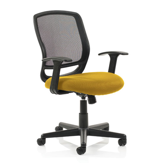 Mave Task Black Back Office Chair With Senna Yellow Seat