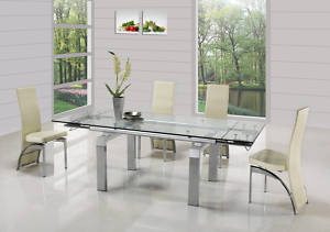 Jessi Clear Extendable Dining Table With 6 G501 Cream Chairs