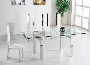 Jessi Clear Extendable Dining Table With 6 G601 Chairs