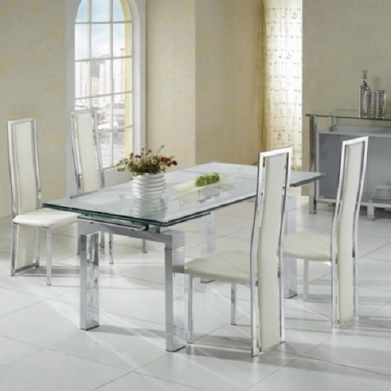 Jessi Clear Glass Extendable Dining Table Only_3