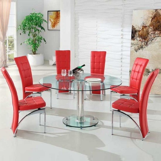 Maxi Round Dining Set In Clear Glass And 6 Ravenna Red