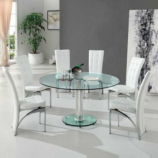 Maxi Round Dining Set In Clear Glass And 6 Ravenna White Chairs