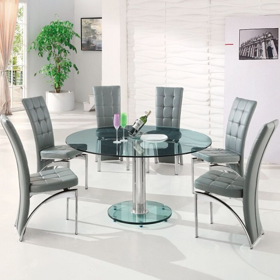 Maxi Round Dining Set In Clear Glass And 6 Ravenna Grey Chairs