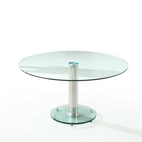 Maxi Round Dining Table In Clear Glass With Chrome Support_1
