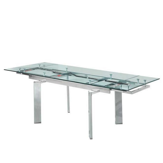 Maxim Extendable Dining Table In Clear Glass With Chrome Legs_2