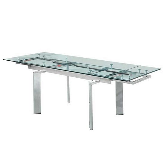 Maxim Extendable Dining Table In Clear Glass With Chrome Legs_1