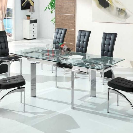Maxim Extendable Dining Table In Clear Glass With Chrome Legs