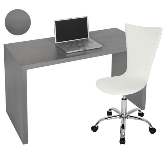Computer Desk In Grey Veneer With Curved White Chair