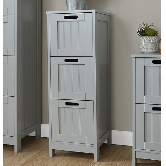 Maxima Wooden Chest Of Drawers Slim In Grey With 3 Drawers
