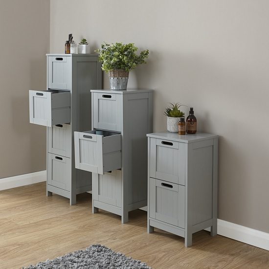Maxima Wooden Chest Of Drawers Slim In Grey With 4 Drawers_2