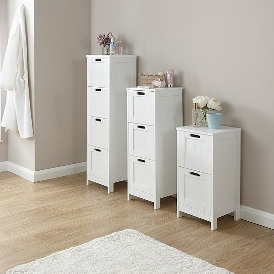 Maxima Wooden Chest Of Drawers Slim In White With 3 Drawers_2