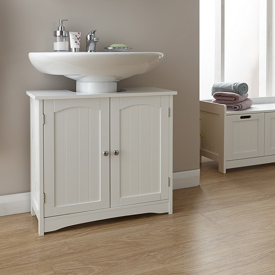 Maxima Wooden Vanity Unit In White With 2 Doors