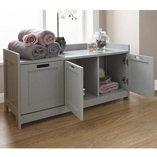Maxima Wooden Storage Bench In Grey With 3 Doors_2
