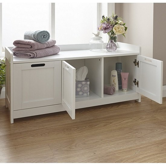 Maxima Wooden Storage Bench In White With 3 Doors_2