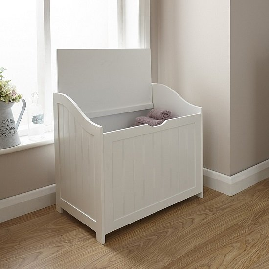 Maxima Wooden Storage Hamper In White_2