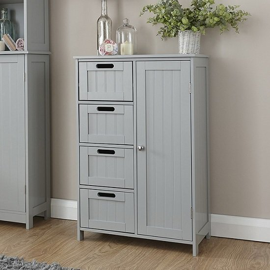 Maxima Wooden Bathroom Storage Unit In Grey With 1 Door_1