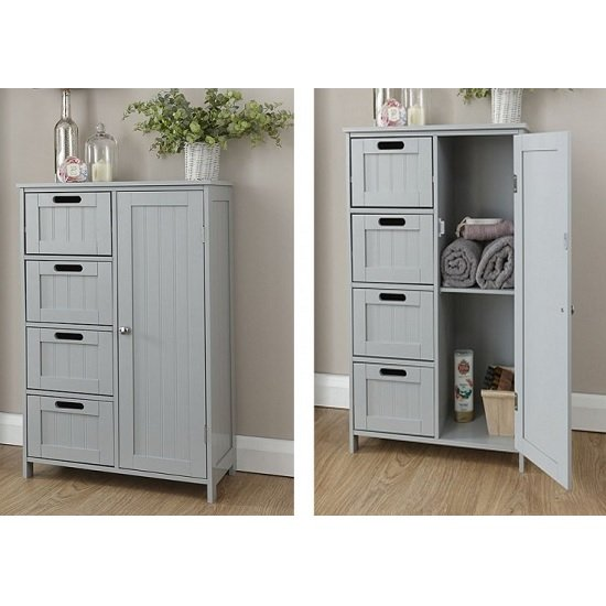 Maxima Wooden Bathroom Storage Unit In Grey With 1 Door_2