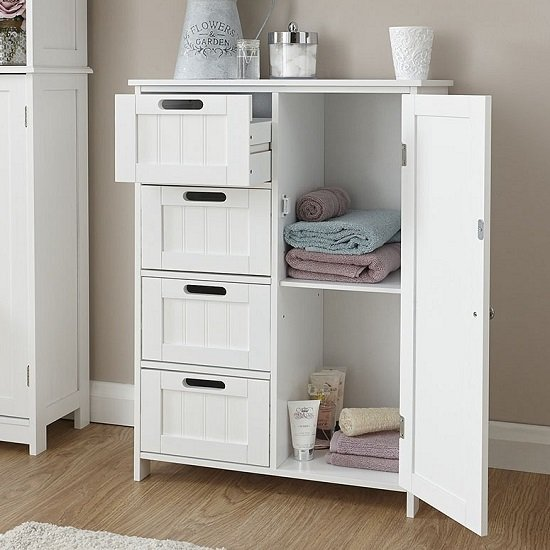 Maxima Wooden Bathroom Storage Unit In White With 1 Door_2