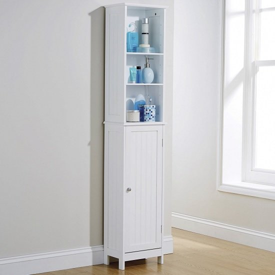 Maxima Wooden Storage Cupboard Tall In White With 1 Door