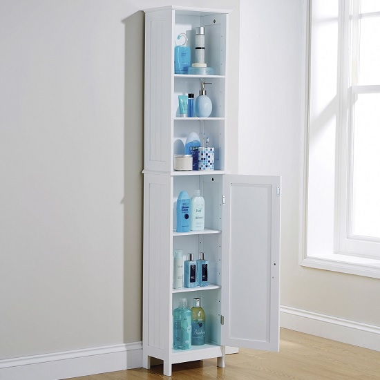 Maxima Wooden Storage Cupboard Tall In White With 1 Door_2