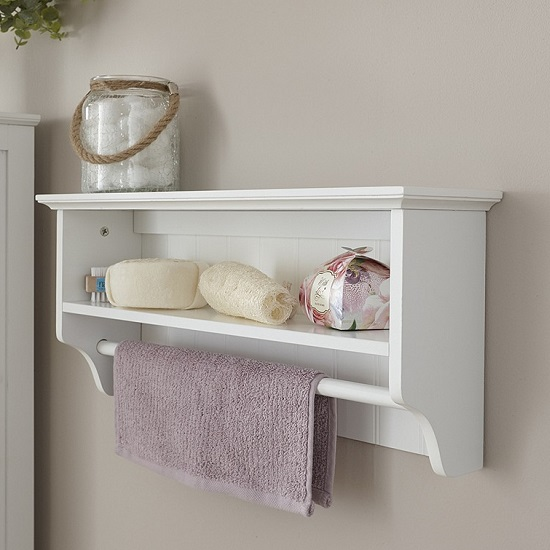Maxima Wooden Wall Mounted Display Shelf In White_2