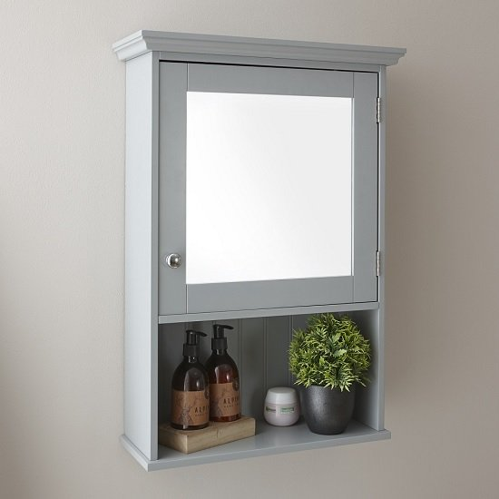 Maxima Wall Mounted Mirrored Bathroom Cabinet In Grey And 1 Door
