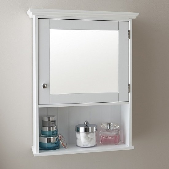 Maxima Wall Mounted Mirrored Bathroom Cabinet In White_1