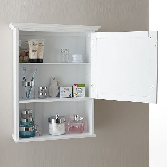 Maxima Wall Mounted Mirrored Bathroom Cabinet In White_2