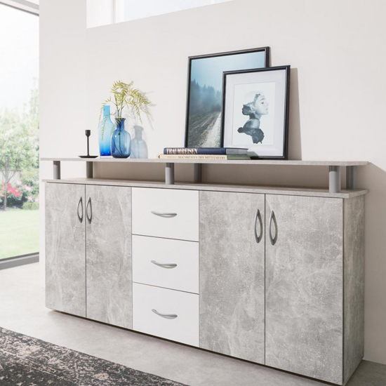 Maximo Sideboard In Structured Concrete And White_1