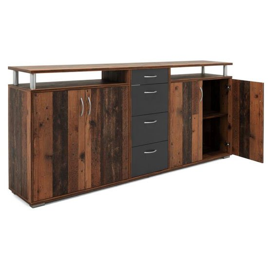 Maximo Wooden Sideboard In Old Style And Anthracite
