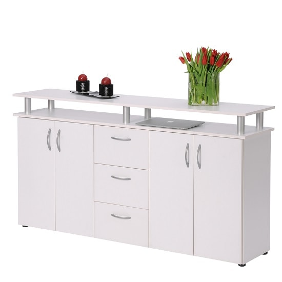 Maximo Wooden Sideboard In White With 4 Doors And 3 Drawers