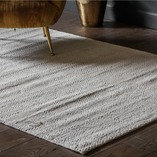 Maydon Cotton And Wool Fabric Rug In Cream
