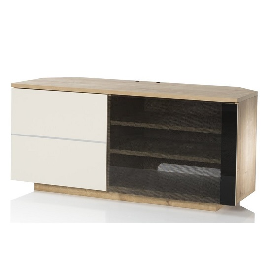 Mayfair Corner TV Cabinet In Oak And Cream Gloss With 2 Doors