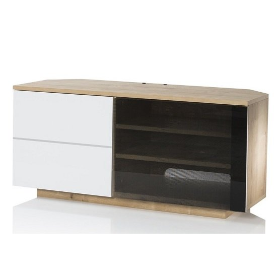 Mayfair Corner TV Cabinet In Oak And White Gloss With 2 Doors