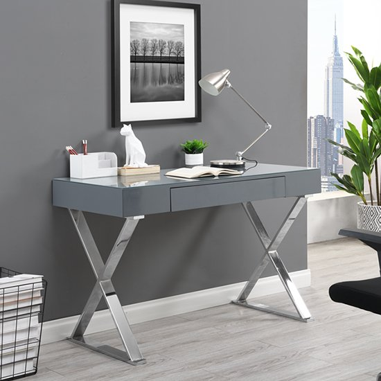 View Mayline laptop office computer desk in high gloss grey