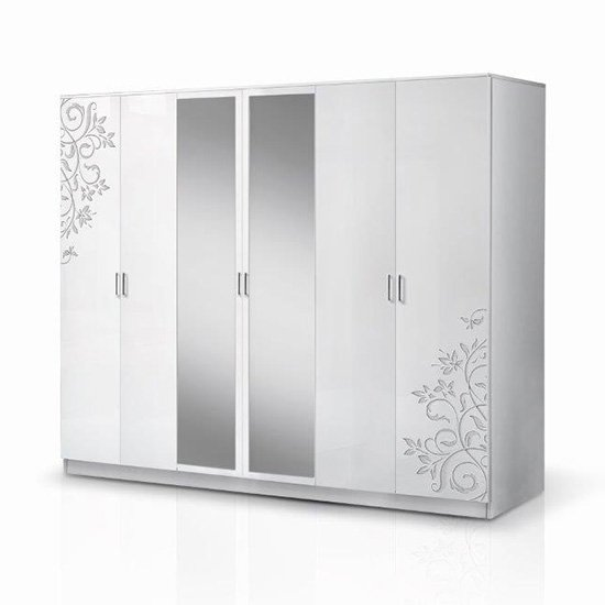 Mayon Mirrored 6 Doors Wardrobe In Flower Pattern White Gloss