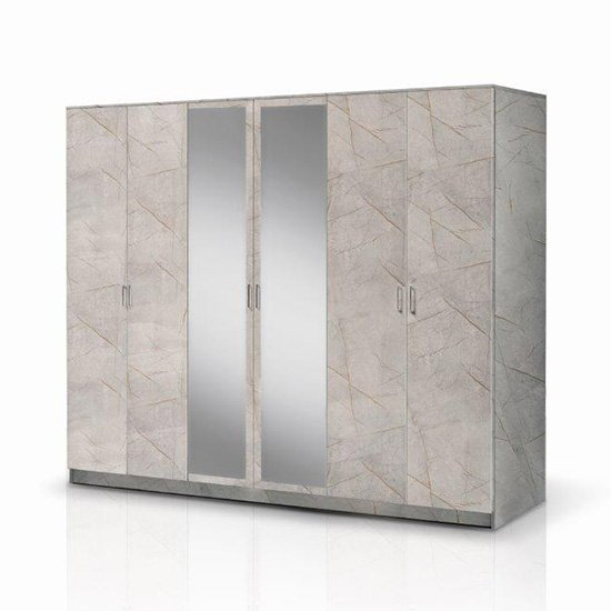 Mayon Mirrored Wooden 6 Doors Wardrobe In Grey Marble Effect