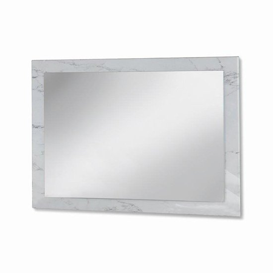 Mayon Bedroom Mirror In White Marble Effect Wooden Frame