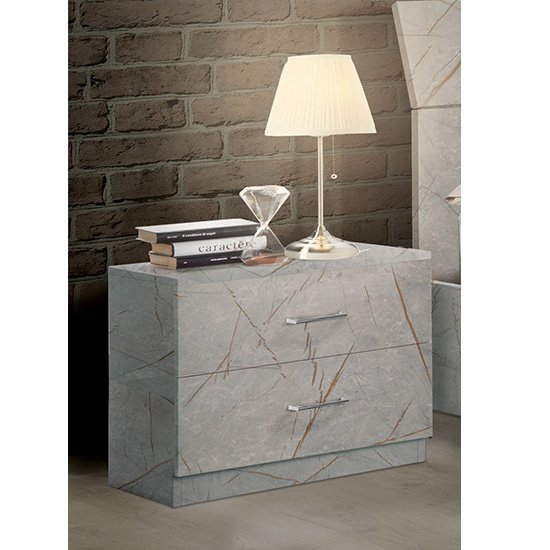 Mayon Wooden Bedside Cabinet In Grey Marble Effect