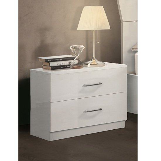 Mayon Wooden Bedside Cabinet In White High Gloss