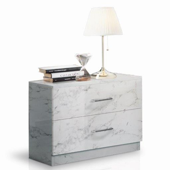 Mayon Wooden Bedside Cabinet In White Marble Effect_2