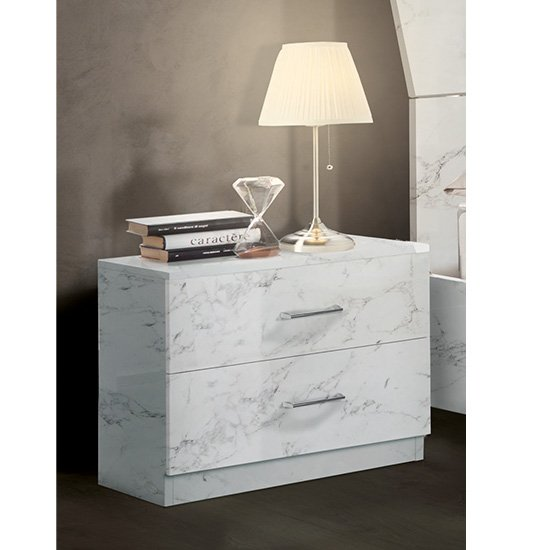 Mayon Wooden Bedside Cabinet In White Marble Effect_1